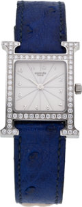 Luxury Accessories:Accessories, Hermes Classic H-Hour Diamond Face Watch with Ostrich Strap. ...
