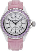 Luxury Accessories:Accessories, Chanel J12 Pink Sapphire Watch with Pink Crocodile Strap. ...