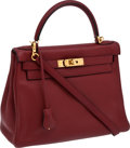 Luxury Accessories:Bags, Hermes 28cm Rouge H Clemence Leather Kelly Bag with Gold Hardware. ...