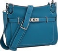Luxury Accessories:Bags, Hermes Blue Jean 34cm Clemence Leather Jypsiere Bag with PalladiumHardware. ...