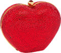 Luxury Accessories:Bags, Judith Leiber Full Bead Bright Red Heart Minaudiere Evening Bag....