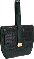 Luxury Accessories:Bags, Fendi Rare Design Shiny Emerald Green Alligator Wristlet Bag withGold Hardware. ...
