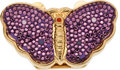 Luxury Accessories:Accessories, Judith Leiber Purple Beaded Butterfly Pillbox. ...