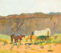 OSCAR EDWARD BERNINGHAUS (American, 1874-1952) Covered Wagon in Rio Grande Gorge and Portrait of Little Joe: a