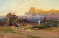 Paintings, ARTHUR W. BEST (American, 1859-1935). Indian Encampment. Oil on canvas. 19-1/2 x 29-1/2 inches (49.5 x 74.9 cm). Signed ...