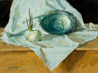 W. CLARENCE MCGRATH (American, 1938-2007) Abalone and onion Oil on masonite 18 x 24 inches (45.7