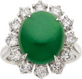 Estate Jewelry:Rings, Jadeite Jade, Diamond, White Gold Ring. ...
