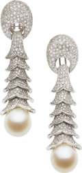 Estate Jewelry:Earrings, Diamond, Cultured Pearl, White Gold Earrings. ...