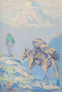 EUSTACE PAUL ZIEGLER (American, 1881-1969) On the Trail (Alaska), 1923 Oil on artists' board 7 x