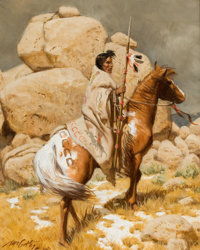 FRANK MCCARTHY (American, 1924-2002) The Sentinel Oil on masonite 10 x 8 inches (25.4 x 20.3 cm)<
