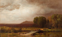 WILLIAM HART (American, 1823-1894) The Cattle Drive, 1872 Oil on canvas 12-1/2 x 21-1/2 inches (3