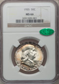Franklin Half Dollars: , 1955 50C MS66 NGC. CAC. NGC Census: (110/2). PCGS Population(65/0). Mintage: 2,400,000. Numismedia Wsl. Price for problem ...