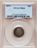 Proof Seated Dimes: , 1876 10C PR64 PCGS. PCGS Population (36/23). NGC Census: (39/26).Mintage: 1,150. Numismedia Wsl. Price for problem free NG...