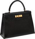 Luxury Accessories:Bags, Heritage Vintage: Hermes 28cm Black Calf Box Rigide Kelly Bag withGold Hardware. ...