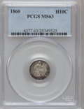 Seated Half Dimes: , 1860 H10C MS63 PCGS. PCGS Population (86/255). NGC Census:(67/309). Mintage: 799,000. Numismedia Wsl. Price for problem fr...