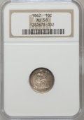 Seated Dimes: , 1862 10C AU58 NGC. NGC Census: (6/148). PCGS Population (5/124).Mintage: 847,000. Numismedia Wsl. Price for problem free N...
