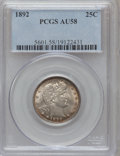 Barber Quarters: , 1892 25C AU58 PCGS. PCGS Population (228/1232). NGC Census:(209/1121). Mintage: 8,237,245. Numismedia Wsl. Price for probl...