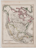 Antiques:Posters & Prints, Map of North America With Hand-Coloring. [ca. 1850]. 11.75 x 9 inches. Mild toning with a few spots of scattered foxing. Ver...