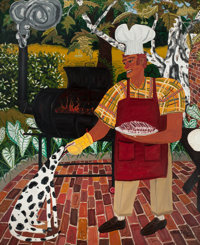 DAVID BATES (American, b. 1952) Barbeque, 1982 Oil on canvas 96 x 76 inches (243.8 x 193.0 cm)