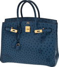 Luxury Accessories:Bags, Hermes Rare 35cm Sapphire Blue Ostrich Birkin Bag with GoldHardware. ...