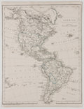 Antiques:Posters & Prints, F. P. Becker. Map of the Americas with Hand-Coloring. [ca. 1840].Measures 10.75 x 8.25 inches. Faint mounting residue to ve...