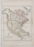 Antiques:Posters & Prints, Hand-Colored Map of North America. London: James Gilbert, [ca. 1840]. 14.5 x 10.5 inches. Reinforced fold through center. Mi...