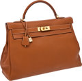 Luxury Accessories:Bags, Hermes 40cm Gold Togo Leather Kelly Bag with Gold Hardware. ...