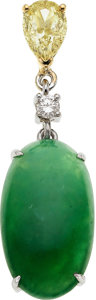 Estate Jewelry:Pendants and Lockets, Jadeite Jade, Colored Diamond, Diamond, Gold Pendant. ...