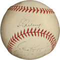 Autographs:Baseballs, 1938 Monte Pearson No-Hit Game Used Baseball Signed by Gehrig &Others....