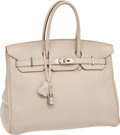 Luxury Accessories:Bags, Hermes 35cm Parchment Clemence Leather Birkin Bag with PalladiumHardware. ...