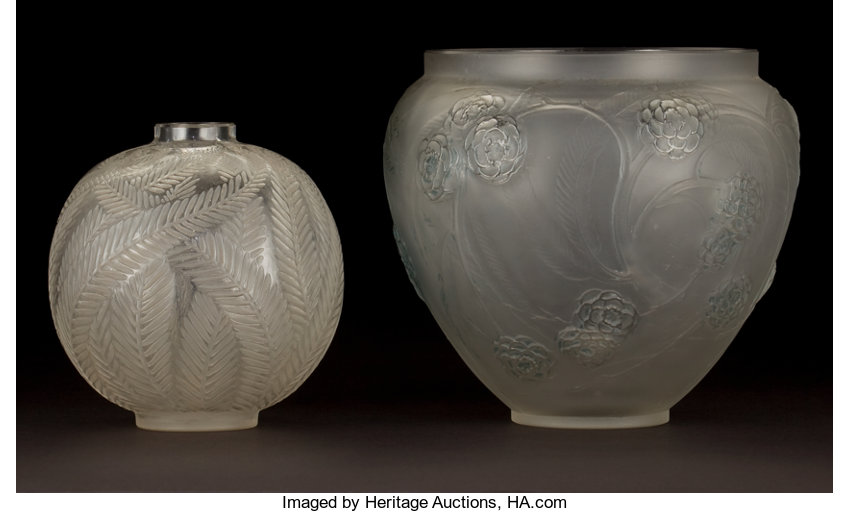 Two R Lalique Clear And Frosted Glass Vases Palmes And Nefliers