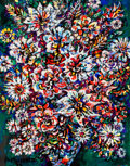 Latin American:Early 20th Century, RENÉ PORTOCARRERO (Cuban, 1912-1985). Flores, 1970. Oil onpaper. 22-3/4 x 17-3/4 inches (57.8 x 45.1 cm). Signed and da...