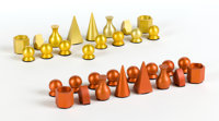 MAN RAY (American, 1890-1976) Chess set (in 32 parts), 1920-1946 Anodized aluminum The King: 2 x