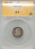 Bust Dimes: , 1820 10C Large 0 Good 4 ANACS. NGC Census: (1/225). PCGS Population (1/169). Mintage: 942,587. Numismedia Wsl. Price for pr...