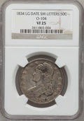 Bust Half Dollars, 1834 50C Large Date, Small Letters VF25 NGC. O-104. NGC Census:(25/1910). PCGS Population (8/947). Mintage: 6,412,004. Nu...