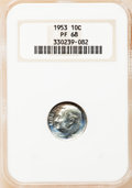 Proof Roosevelt Dimes: , 1953 10C PR68 NGC. NGC Census: (205/14). PCGS Population (22/2).Mintage: 128,800. Numismedia Wsl. Price for problem free N...