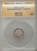 Barber Dimes, 1892-O 10C --Environmental Damage-- ANACS. MS60 Details. NGCCensus: (2/154). PCGS Population (5/147). Mintage: 3,841,700. N...