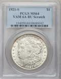 Morgan Dollars, 1921-S $1 MS64 PCGS. BU Scratch, Vam-6a. PCGS Population (13/1).(#134059)...