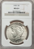Peace Dollars: , 1928 $1 MS62+ NGC. NGC Census: (1093/2215). PCGS Population(1348/3876). Mintage: 360,649. Numismedia Wsl. Price for proble...