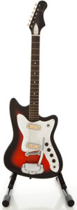 Musical Instruments:Electric Guitars, 1960's Harmony Bobkat Redburst Solid Body Electric Guitar...