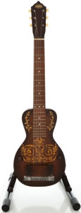 Musical Instruments:Lap Steel Guitars, Circa 1940's Oahu Deco Mahogany Lap Steel Guitar....