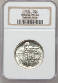 Commemorative Silver: , 1926 50C Oregon MS64 NGC. NGC Census: (665/999). PCGS Population(1124/1259). Mintage: 47,955. Numismedia Wsl. Price for pr...