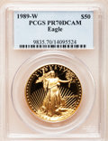 Modern Bullion Coins: , 1989-W G$50 One-Ounce Gold Eagle PR70 Deep Cameo PCGS. PCGSPopulation (222). NGC Census: (681). Mintage: 54,570. Numismed...