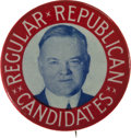 Political:Pinback Buttons (1896-present), Herbert Hoover: Colorful Large Picture Pin....
