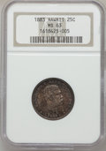 Coins of Hawaii: , 1883 25C Hawaii Quarter MS63 NGC. NGC Census: (163/445). PCGSPopulation (272/568). Mintage: 500,000. (#10987)...