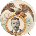 Political:Pinback Buttons (1896-present), Theodore Roosevelt: Great Eagle and Harbor Button....