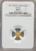 California Fractional Gold: , 1871 25C Liberty Round 25 Cents, BG-841, R.4, MS62 NGC. NGC Census:(4/0). PCGS Population (17/28). (#10702)...