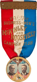 Political:Ribbons & Badges, McKinley & Roosevelt: Terrific Rough Rider Jugate....
