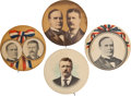 Political:Pinback Buttons (1896-present), William McKinley and Theodore Roosevelt: Four Large Buttons.... (Total: 4 Items)