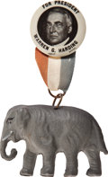 Political:Pinback Buttons (1896-present), Warren G. Harding: Picture Pin with Celluloid Elephant....